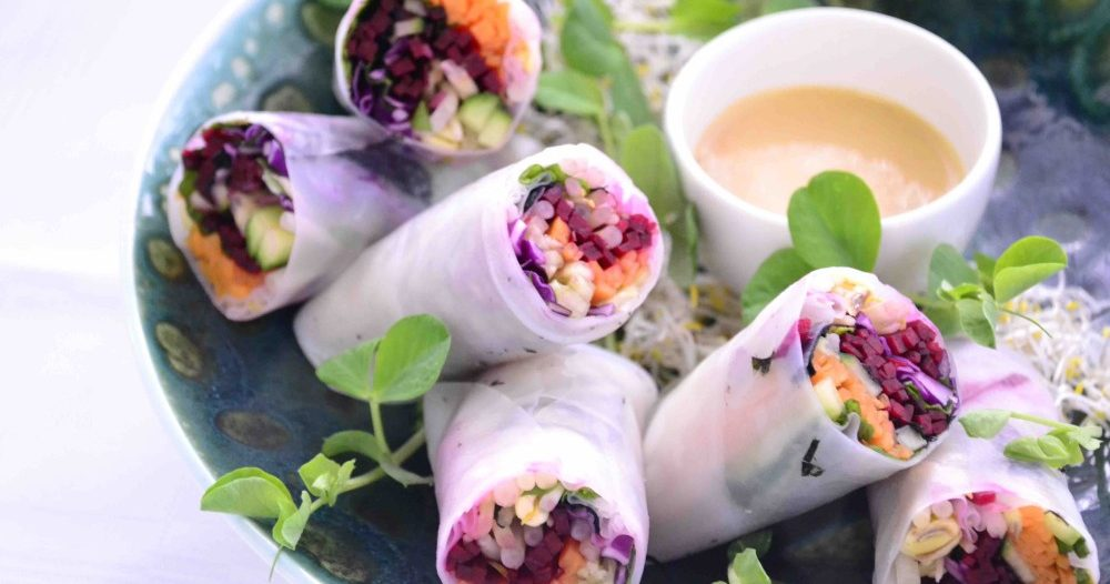 Raw Rainbow Spring Rolls with Peanut and Ginger dipping