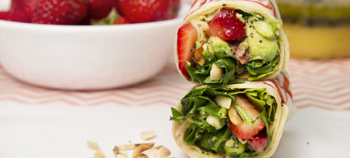 Strawberry-Spinach Salad Wraps with Orange Poppy Seed Dressing